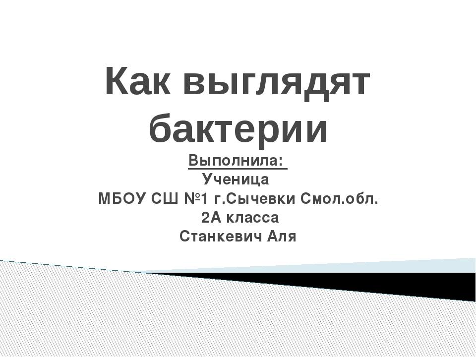 Как выглядят бактерии Выполнила: Ученица МБОУ СШ №1 г.Сычевки Смол.обл. 2А кл...