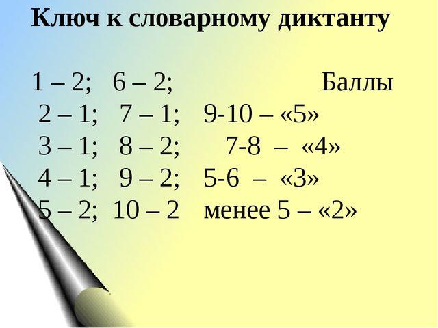 Ключ к словарному диктанту 1 – 2; 6 – 2; Баллы 2 – 1; 7 – 1;9-10 – «5» 3 –...