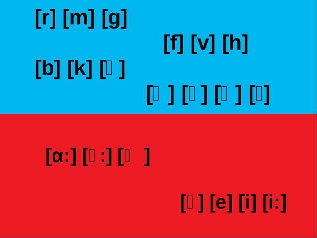 [r] [m] [g] [f] [v] [h] [b] [k] [ʒ] [ʧ] [ʒ] [ɧ] [ʃ] [α:] [ͻ:] [ӕ] [ͻ] [e] [i]...