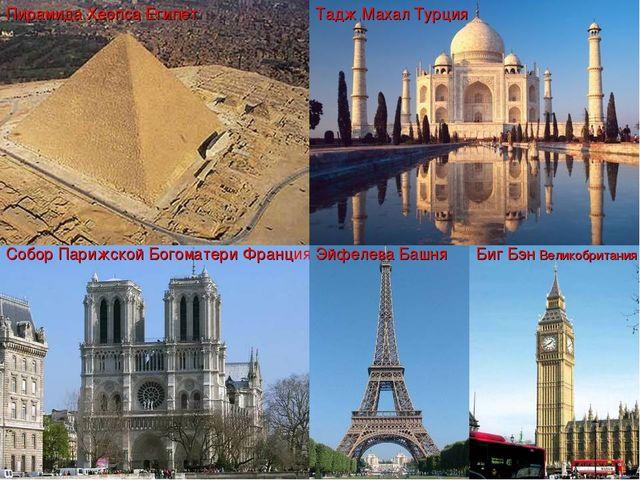 Пирамида Хеопса Египет Собор Парижской Богоматери Франция Тадж Махал Турция Б...