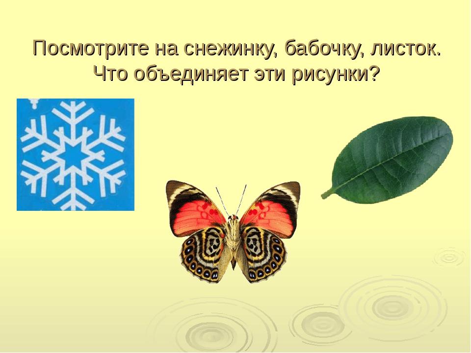 Посмотрите на снежинку, бабочку, листок. Что объединяет эти рисунки?