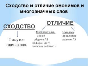 Сходство и отличие омонимов и многозначных слов СХОДСТВО Пишутся одинаково. О