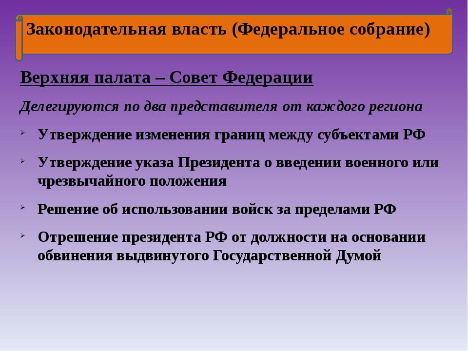 Законодательная власть (Федеральное собрание) Верхняя палата – Совет Федерац...