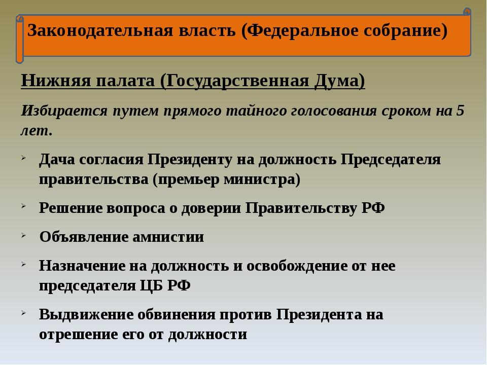 Законодательная власть (Федеральное собрание) Нижняя палата (Государственная...
