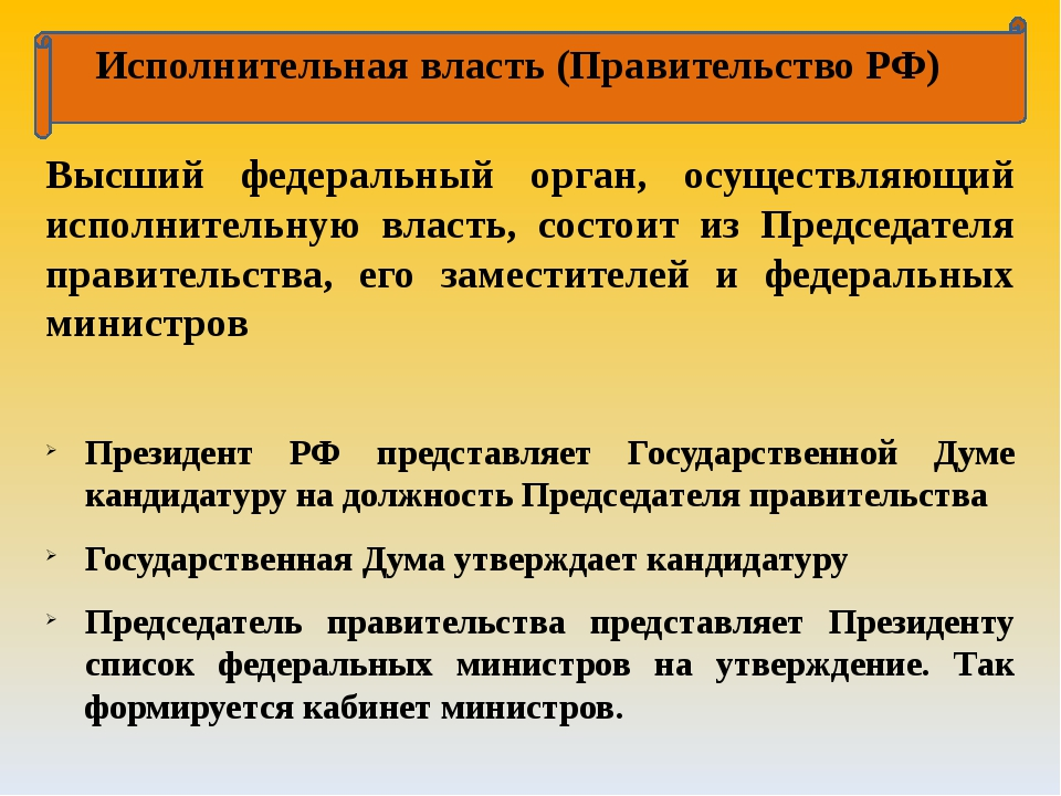 Исполнительная власть (Правительство РФ) Высший федеральный орган, осуществл...