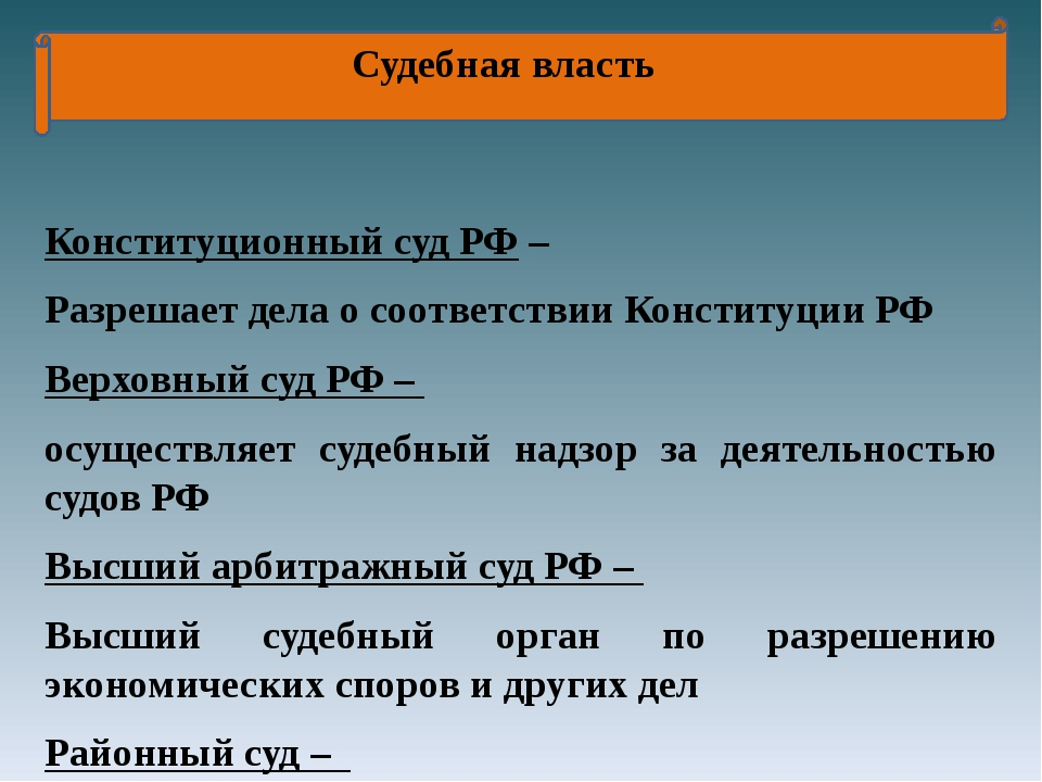 Судебная власть Конституционный суд РФ – Разрешает дела о соответствии Конст...