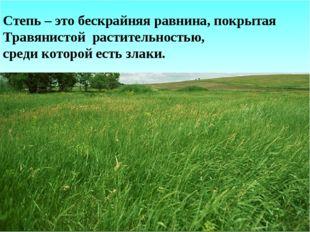 Степь – это бескрайняя равнина, покрытая Травянистой растительностью, среди к