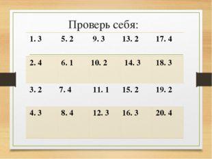 Проверь себя: 1. 3  5. 2  9. 3 13. 2  17. 4 2. 4  6. 1 10. 2  14. 3