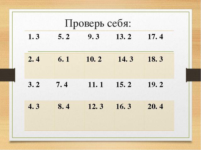 Проверь себя: 1. 3  5. 2  9. 3 13. 2  17. 4 2. 4  6. 1 10. 2  14. 3...