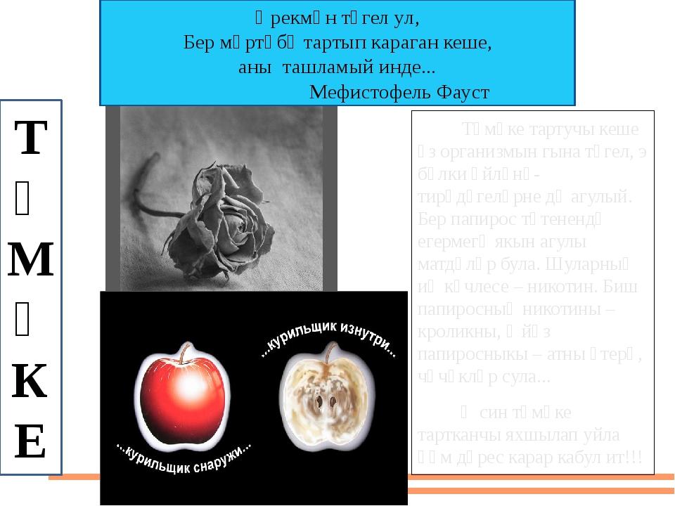 Тәмәке тартучы кеше үз организмын гына түгел, э бәлки әйләнә-тирәдәгеләрне д...