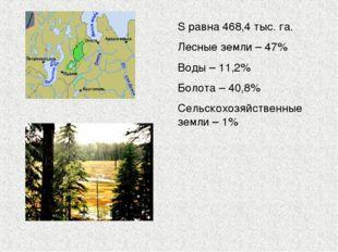 S равна 468,4 тыс. га. Лесные земли – 47% Воды – 11,2% Болота – 40,8% Сельско