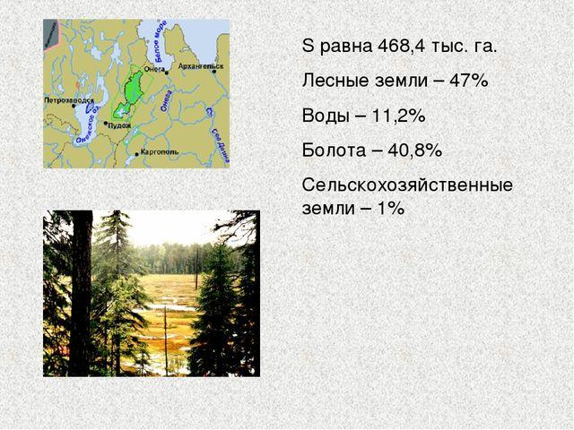 S равна 468,4 тыс. га. Лесные земли – 47% Воды – 11,2% Болота – 40,8% Сельско...