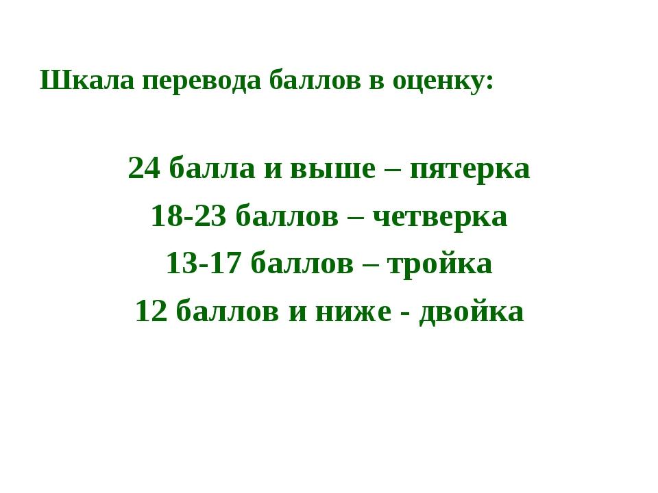 Шкала перевода баллов в оценку: 24 балла и выше – пятерка 18-23 баллов – четв...