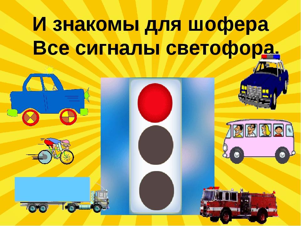 И знакомы для шофера Все сигналы светофора.