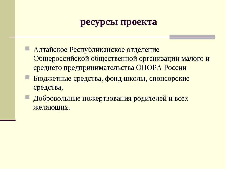 ресурсы проекта Алтайское Республиканское отделение Общероссийской общественн...