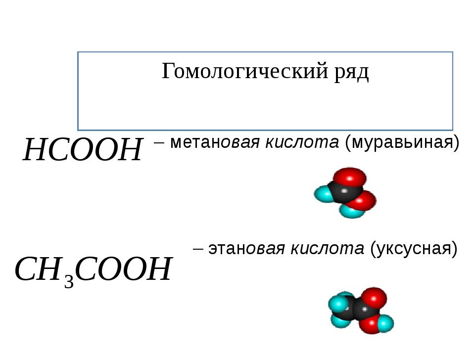 Гомологический ряд – метановая кислота (муравьиная) – этановая кислота (уксус...