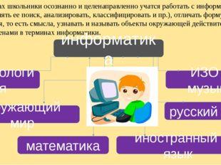 На уроках школьники осознанно и целенаправленно учатся работать с информацие