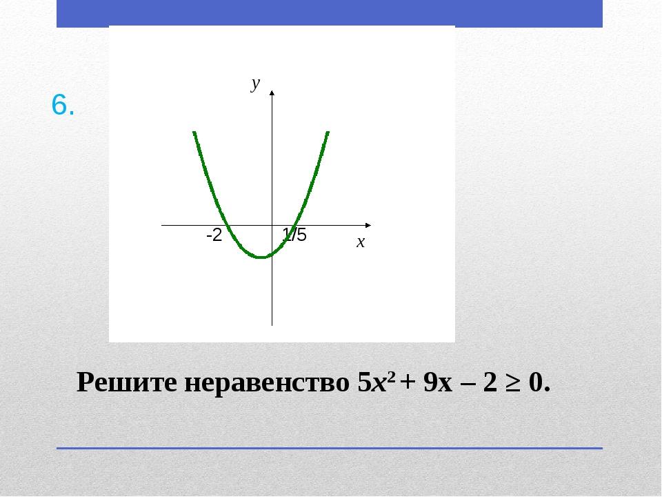 Решите неравенство 5х2 + 9х – 2 ≥ 0. 6.