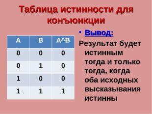 Таблица истинности для конъюнкции Вывод: Результат будет истинным тогда и тол