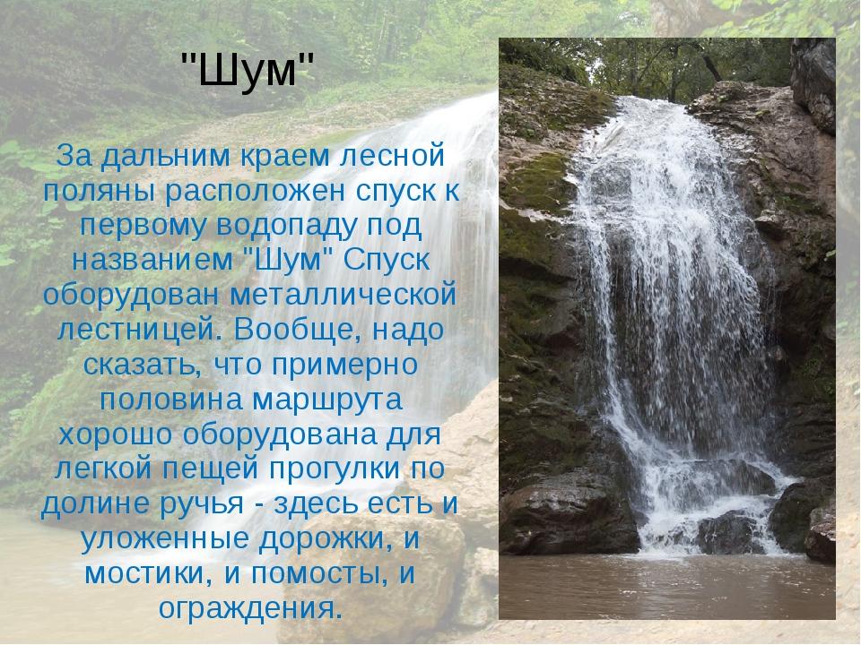 """""""Шум"""" За дальним краем лесной поляны расположен спуск к первому водопаду под..."""
