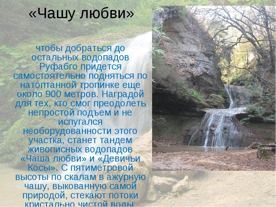 «Чашу любви» чтобы добраться до остальных водопадов Руфабго придется самостоя...