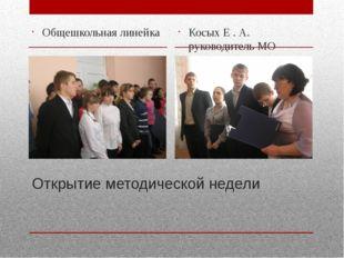 Открытие методической недели Общешкольная линейка Косых Е . А. руководитель МО