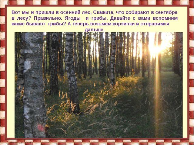 Вот мы и пришли в осенний лес, Скажите, что собирают в сентябре в лесу? Прави...