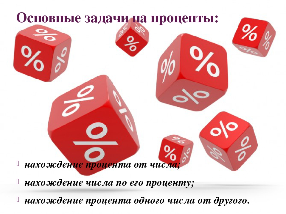 Основные задачи на проценты: нахождение процента от числа; нахождение числа п...