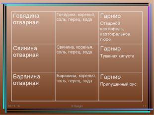 * S.Sargin * Говядина отварнаяГовядина, коренья, соль, перец, водаГарнир От
