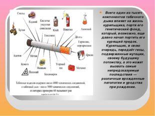 Всего один из тысяч компонентов табачного дыма влияет на жизнь курильщика,