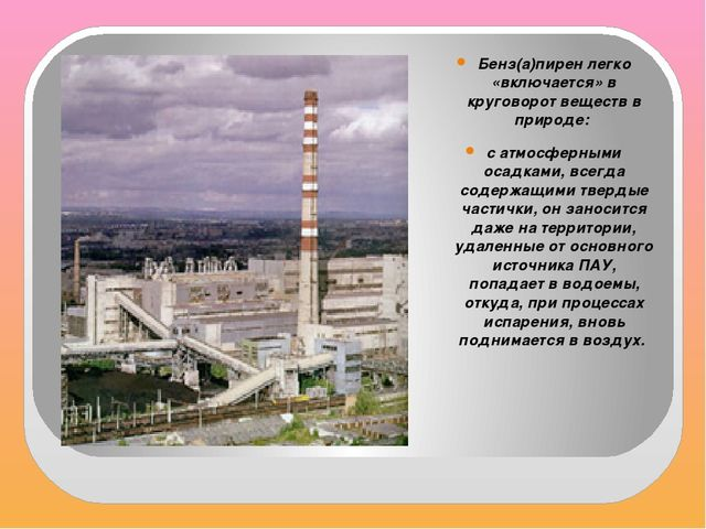 Бенз(а)пирен легко «включается» в круговорот веществ в природе: с атмосферны...