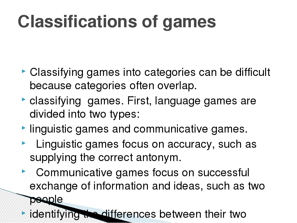 Classifying games into categories can be difficult because categories often...