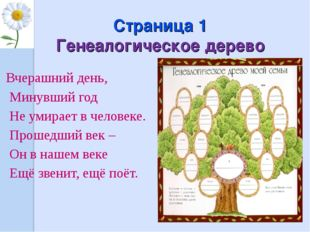 Страница 1 Генеалогическое дерево Вчерашний день, Минувший год Не умирает в ч