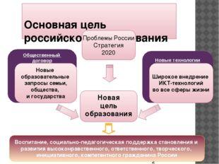 Основная цель российского образования Новая цель образования Новые технологи