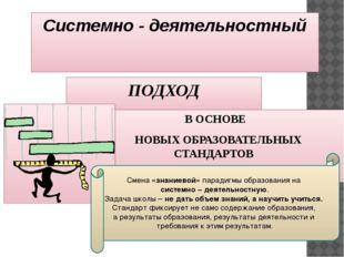 Системно - деятельностный ПОДХОД В ОСНОВЕ НОВЫХ ОБРАЗОВАТЕЛЬНЫХ СТАНДАРТОВ См