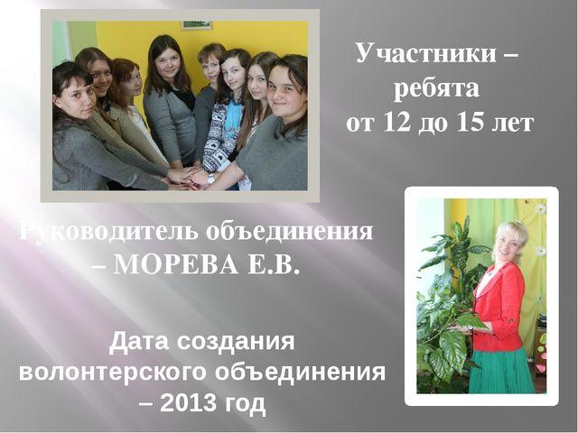 Участники – ребята от 12 до 15 лет Руководитель объединения – МОРЕВА Е.В. Да...