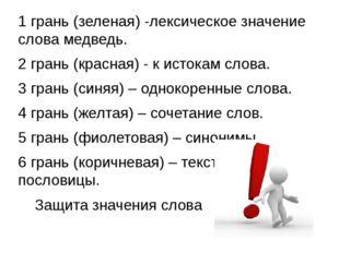 1 грань (зеленая) -лексическое значение слова медведь. 2 грань (красная) - к