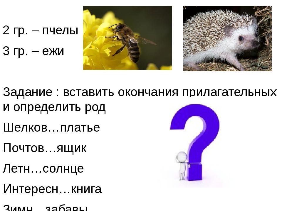 2 гр. – пчелы 3 гр. – ежи Задание : вставить окончания прилагательных и опре...