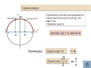 Арккосинус 0 π 1 -1 arccos(-а) Арккосинусом числа а называется такое число (у