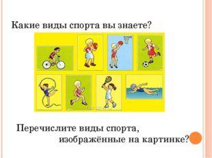 Какие виды спорта вы знаете? Перечислите виды спорта, изображённые на карти