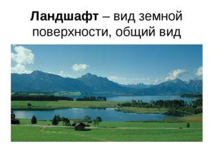 Ландшафт – вид земной поверхности, общий вид местности.