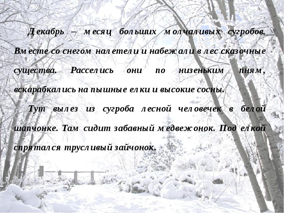 Декабрь – месяц больших молчаливых сугробов. Вместе со снегом налетели и набе...