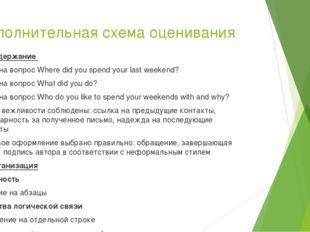 Дополнительная схема оценивания К1 Содержание Ответ на вопрос Where did you s