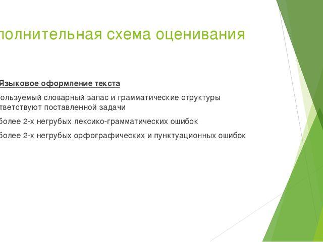 Дополнительная схема оценивания К3 Языковое оформление текста Используемый сл...