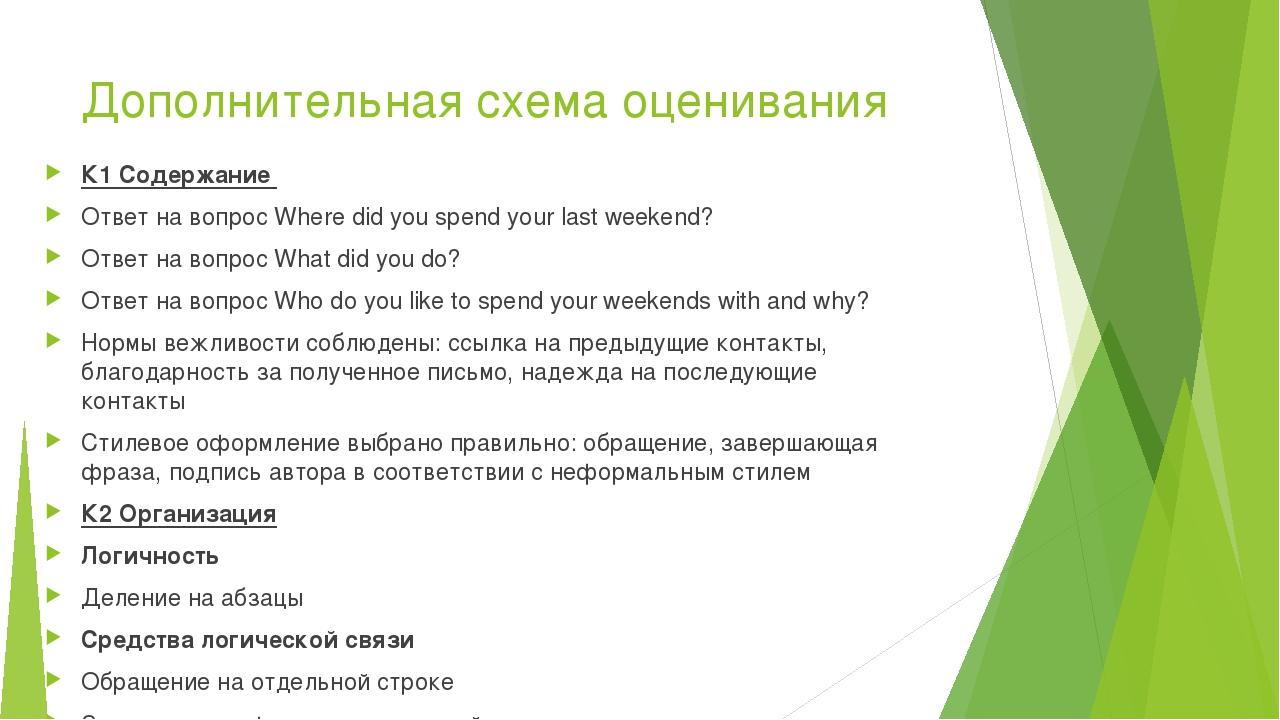 Дополнительная схема оценивания К1 Содержание Ответ на вопрос Where did you s...