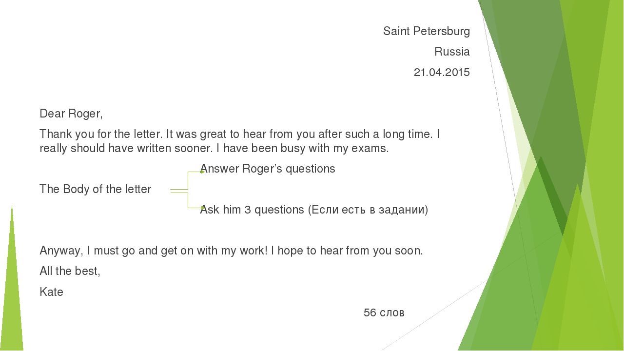Saint Petersburg Russia 21.04.2015 Dear Roger, Thank you for the letter. It w...