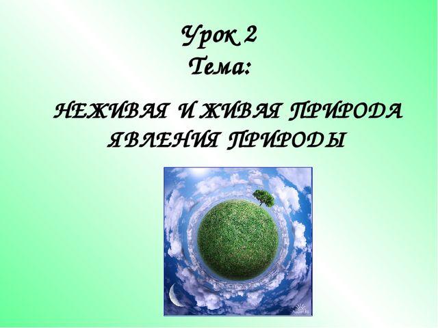 Урок 2 Тема: НЕЖИВАЯ И ЖИВАЯ ПРИРОДА ЯВЛЕНИЯ ПРИРОДЫ