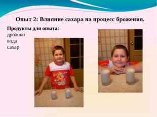 Продукты для опыта: дрожжи вода сахар Опыт 2: Влияние сахара на процесс брож
