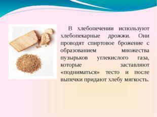 В хлебопечении используют хлебопекарные дрожжи. Они проводят спиртовое броже