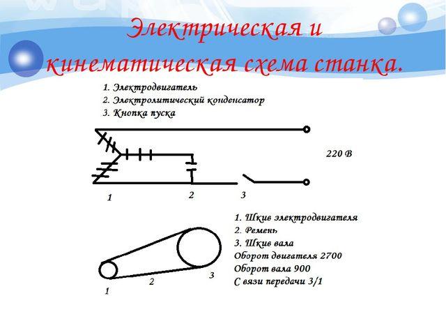 Электрическая и кинематическая схема станка.